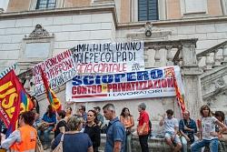 manifestazione lavoratori AMA in Campidoglio, 14/9/2015