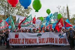 Manifestazione cgil-cisl-uil per la riforma della pensioni 2/4/2016