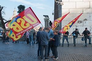 Roma, 29/9/2017 manifestazione Usb in Campidoglio